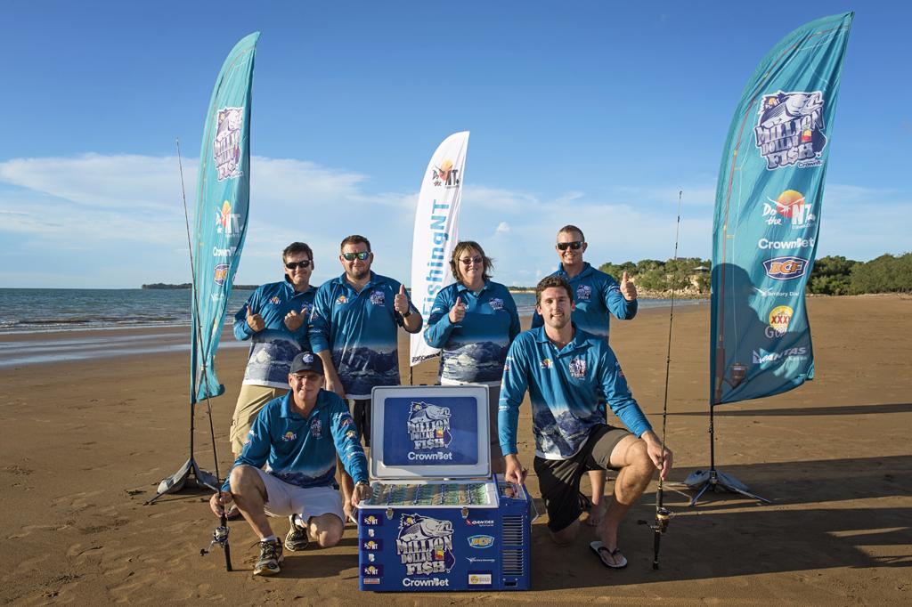 Some of the Million Dollar Fish Season one winners at Mindil Beach, Darwin.