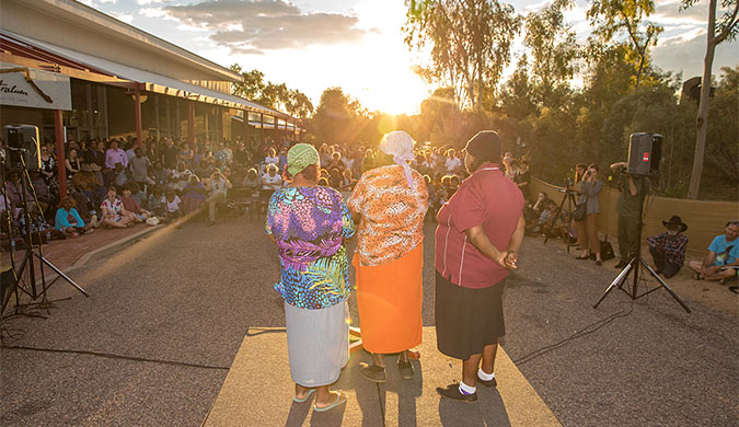 Desert Mob 2016 opening. Photo by Lisa Hatzimihail. Courtesy of Araluen Arts Centre.