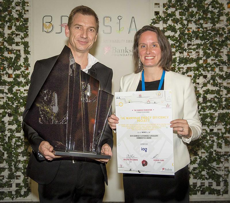 Sam Latz, Manymak Project Director and Carrey Cultra from IAG (award sponsor). Photo credit: Banksia Foundation