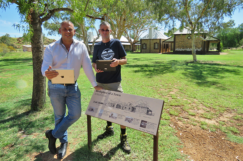 Chief Minister Adam Giles and Adam Palmer accessing free Wi-Fi at the Alice Springs Telegraph Station.