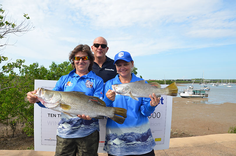 The first two barra caught in Season 2 of the Million Dollar Fish competition with the lucky reelers (L-R): George Voukolos, CrownBet CEO Matt Tripp and Kellie Carroll