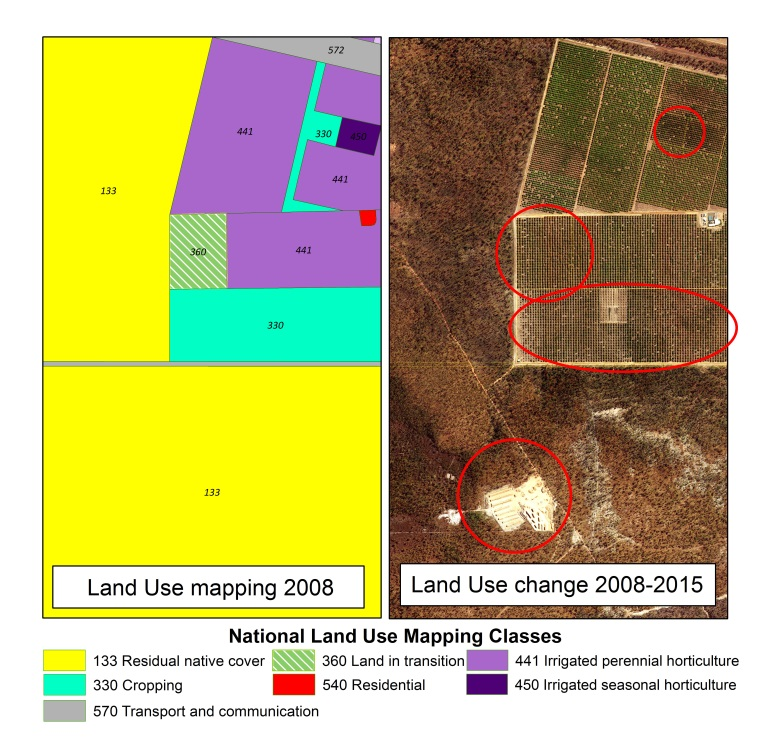 Land use change in the Darwin region, 2008–2015. Red lines show horticultural land use expansion