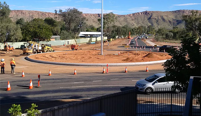 The upgrade works being completed at the Larapinta Road / Lovegrove Drive intersection